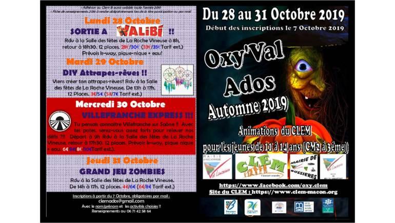 Oxy'Val Ados vacances automne 2019